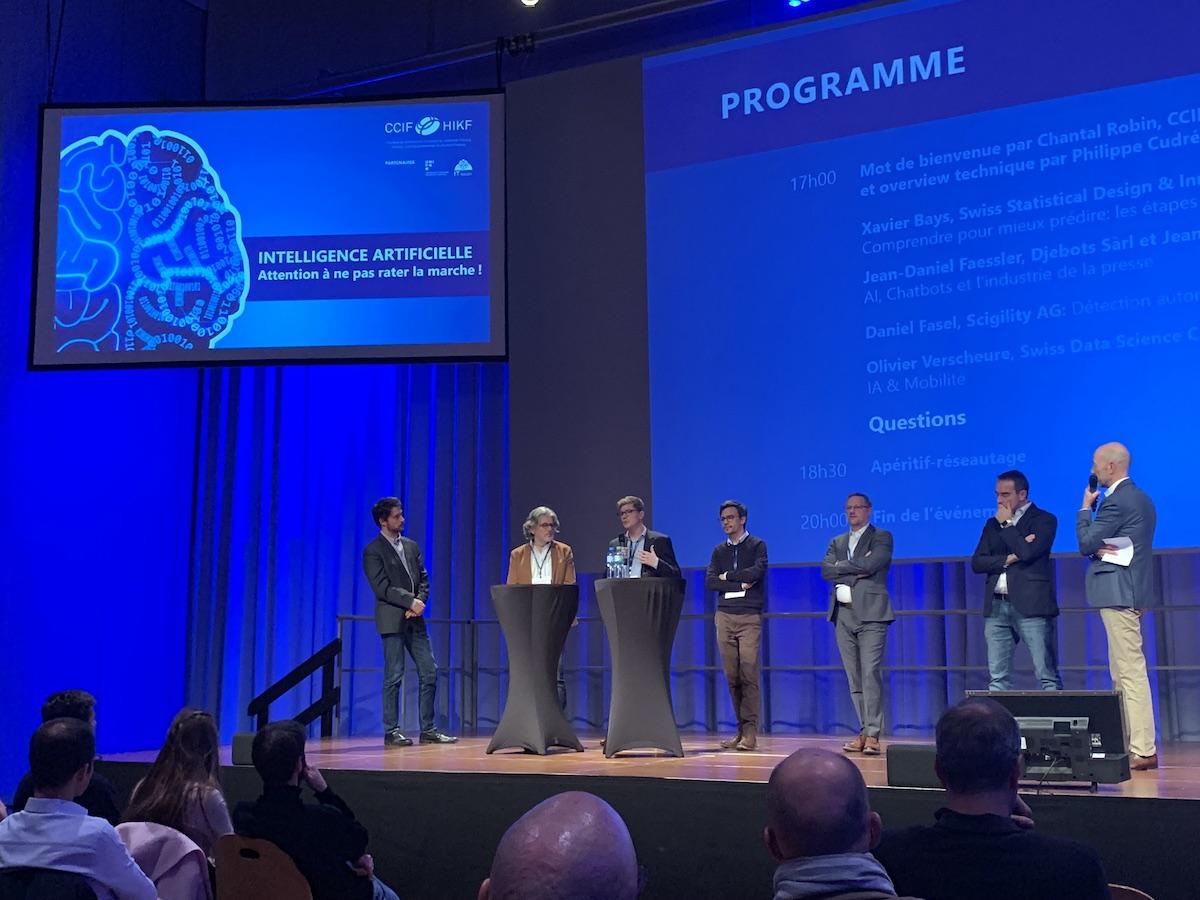 Présentation de Swiss Statistical Design & Innovation (Swiss-SDI) sur l'intelligence artificielle lors de la conférence à la Chambre de commerce de Fribourg